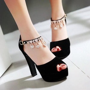 Peep Toe Rhinestone Crystal High Heels Pump Shoes Verkadi.com