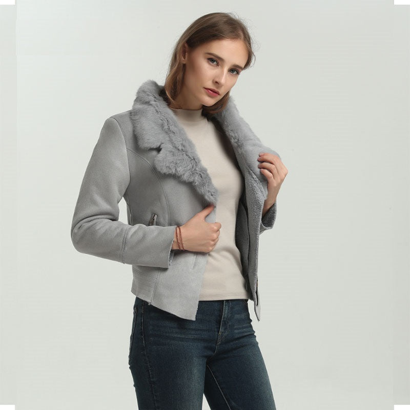 Hot Faux Sheepskin Lambs Wool Women Suede Jacket