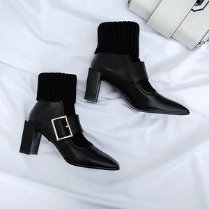 Genuine Leather Heels Retro Square Toe Mid Calf Boots