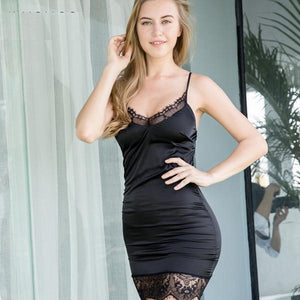 Hot V-Neck Spaghetti Strap Lace Mini Party Club Dress Verkadi.com