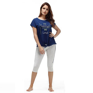 Cotton O-Neck Short Sleeve Sleepwear Pajama Set Verkadi.com