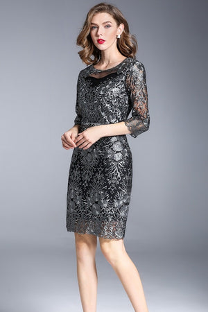 Embroidery Bodycon Sheath Plus Size Party Midi Dress
