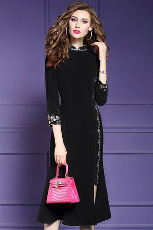 mbroidery Vintage Formal Party Mid-Calf Dress