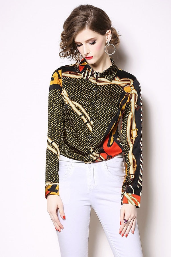 Long Sleeve Printed Women Office Shirt Blouse Top