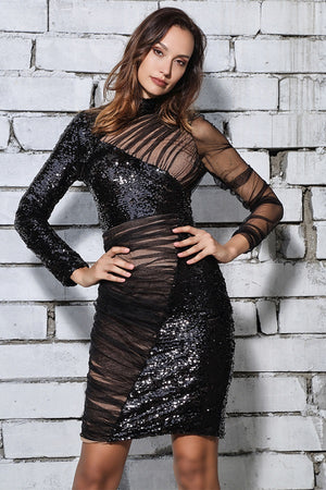 Hot Black Stand-Up Mesh Sequins Party Club Mini Dress