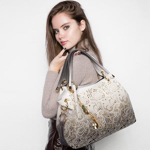 Designer Hollow Out Floral Print Shoulder Handbag