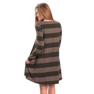 Hip O-Neck Long Sleeve Striped Pocket Loose Midi Vintage Dress Verkadi.com