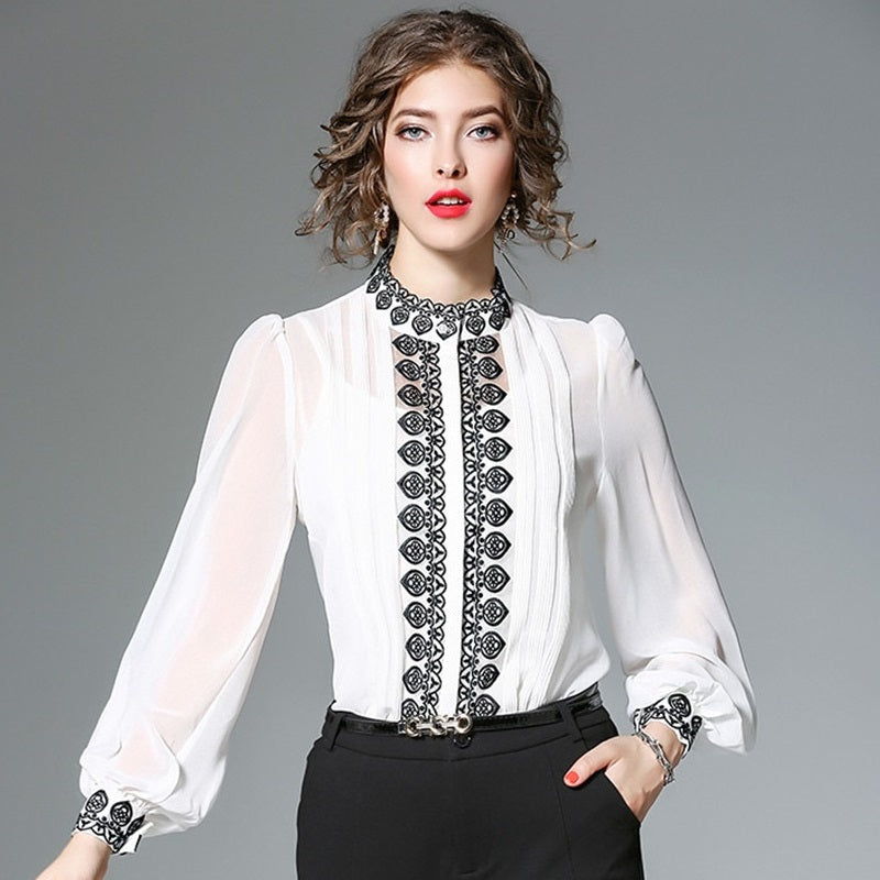 Sexy Long Sleeve Embroidery Chiffon Shirt Blouse Verkadi.com