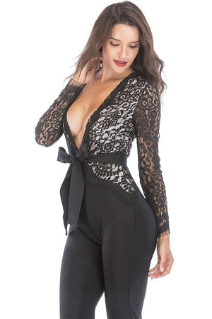 lace deep v neck women Jumpsuits Dresses