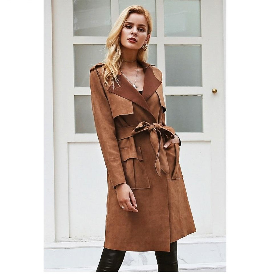 Smart Turn Down Collar Sash Suede Trench Coat Verkadi.com