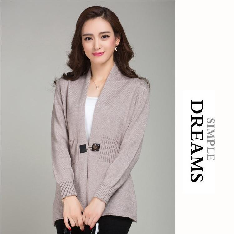 Elegant Retro Cashmere Woolen Knitted Cardigan Sweater