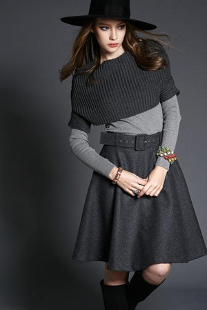 Knitted Jersey Top Skirt High Street Midi Dress