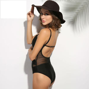 One Piece Beach Mesh & Solid Backless  Swimsuit