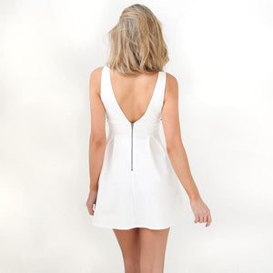 Sexy Deep V Neck Sleeveless Embroidered Short Dress Verkadi.com