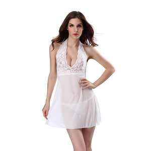 Hot V-neck Lace Sleeveless Floral Nightgown Lingerie Set Verkadi.com