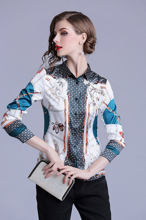 Long Sleeve Chiffon Printed Women Shirt Blouse Top