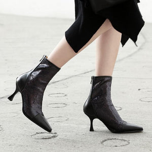 Fashion High Heel Leather Zipper Multi-Color Mid Calf Boots Verkadi.com