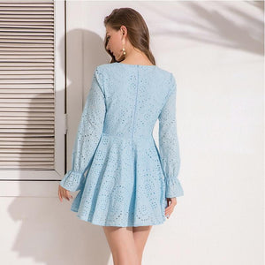 High Street Lace V Neck Flare Full Sleeve Lining Dress Verkadi.com