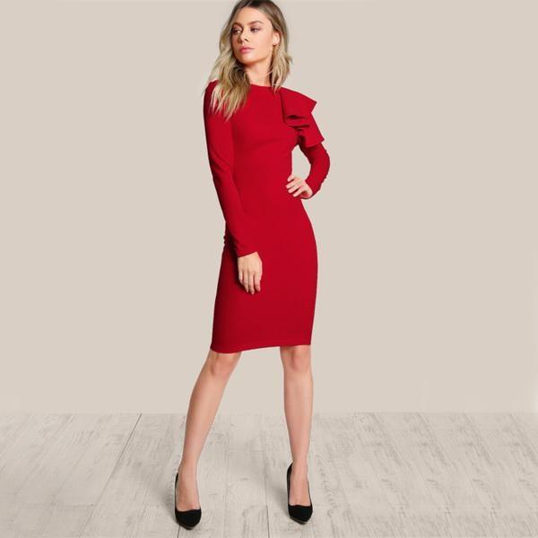 Tiered Ruffle Elegant Red Dress