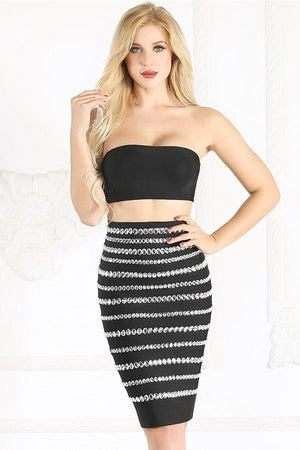 Beading Bodycon Two Piece Tube Top Skirt Dress