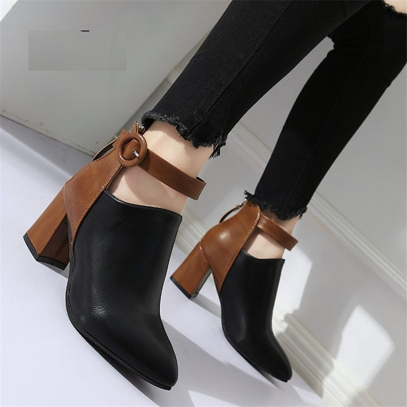 Platform Ankle Strap Two Color Pointed Toe High Heel Boots Shoes