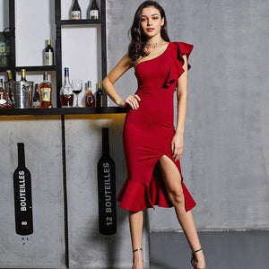 Elegant One Shoulder Ruffles Slash Neck Pencil Dress Verkadi.com