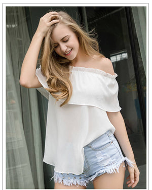 Trendy & Hip Off Shoulder Ruffle Sexy Chiffon Blouse Dress Verkadi.com
