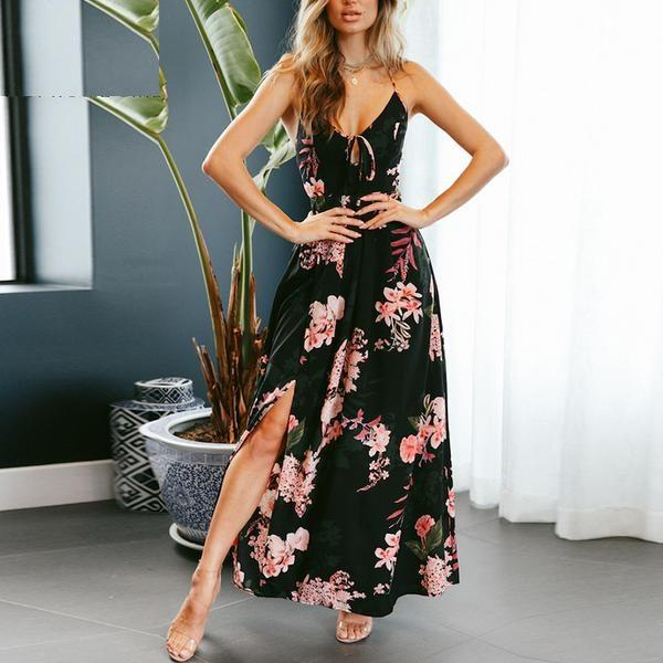 Red Floral Print Sexy Lace Up V Neck Maxi Backless Summer Dress Verkadi.com