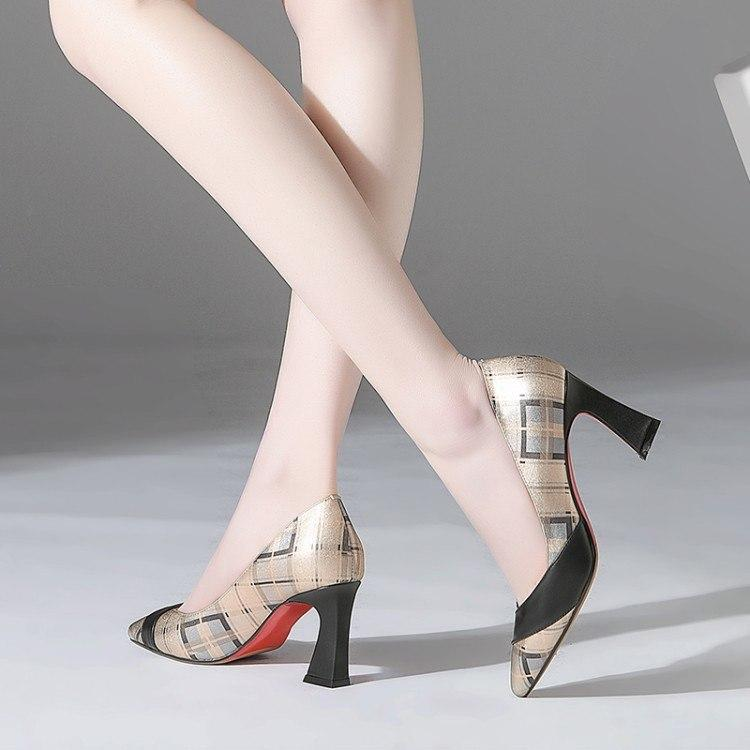 High End Leather Pointed Toe Heel Multi Color Pumps shoes Verkadi.com