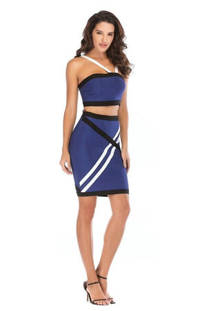 Sexy Crop Top Skirt Bodycon Strapless Striped Dress