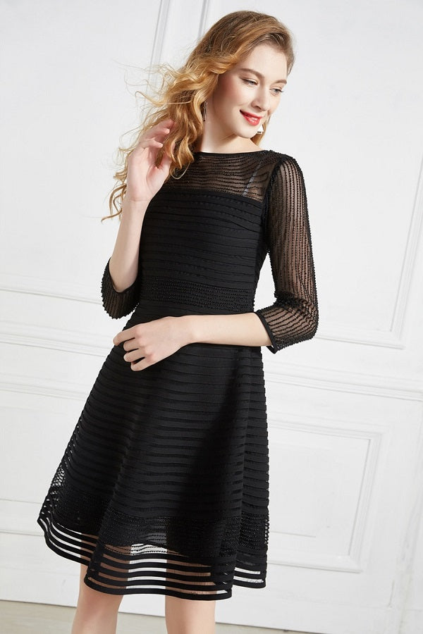 Beading Mesh Stripes Slim Fit Party Cocktail Midi Dress