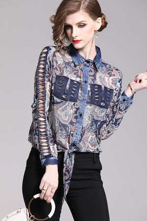 Denim Patchwork Turn-down Collar Chiffon Shirt Blouse Top