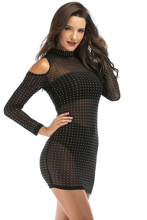 Cold Shoulder Long Sleeve Sequined Mini Dress