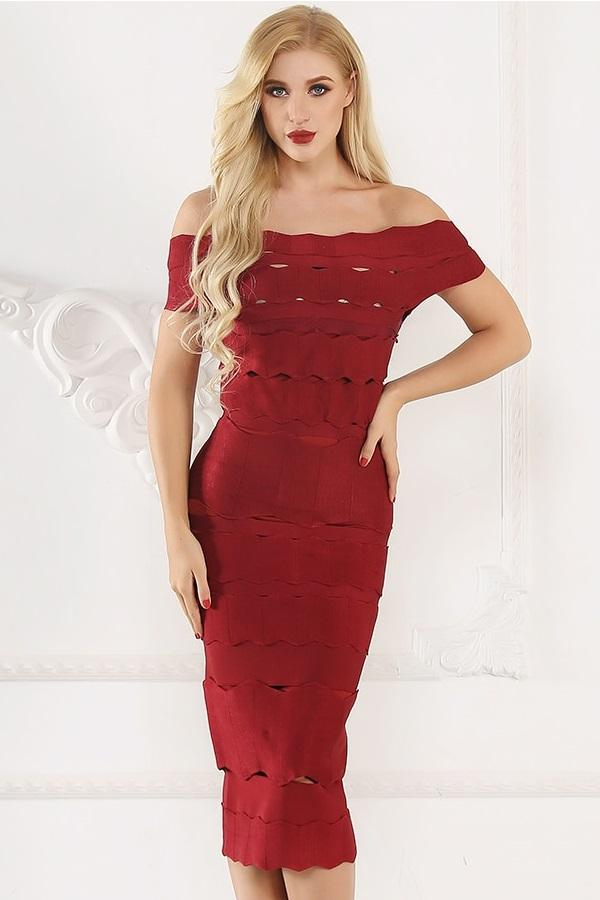 Chic Off Shoulder Bodycon Midi Party Dress