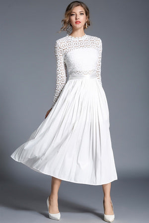 Vintage Design White Lace Pleated Mid-Calf Dress