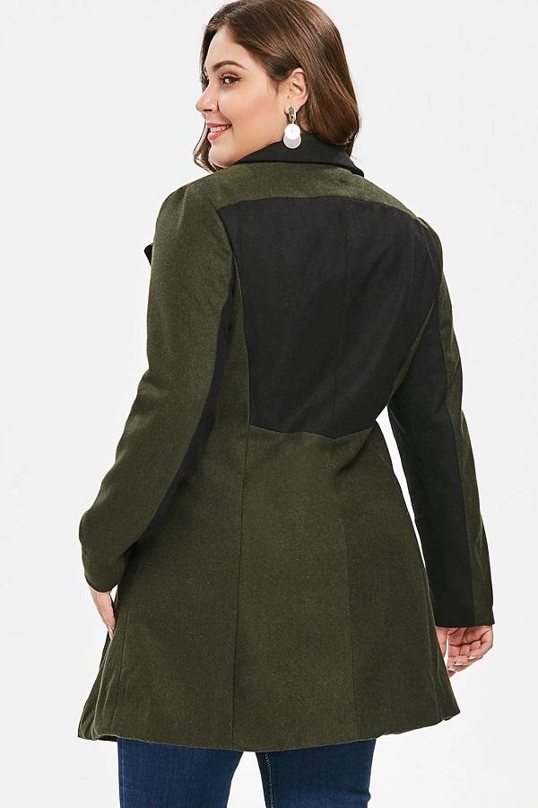 Classy Plus Size Two Tone Winter Patchwork Coat Jacket
