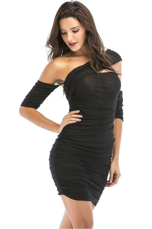 One-Shoulder Hollow Out Bodycon Mini Dress