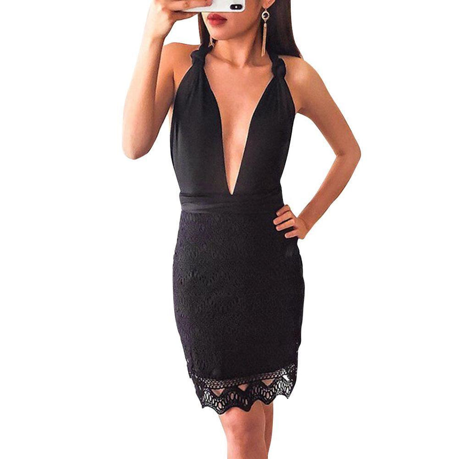 Sexy Multi Way Sleeveless Plunge Neck Cross Back Lace Dress Verkadi.com