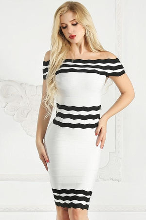 Off Shoulder Striped Bandage Bodycon Pencil Dress