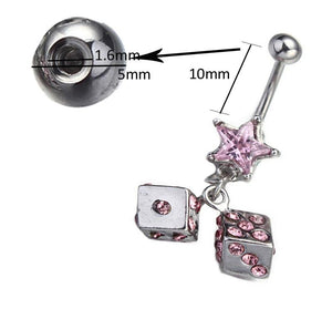 Crystal Dice Dangle Rhinestone Navel Piercing Belly Button Ring