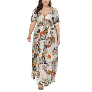 Sexy Floral Printed Long Plus Size Maxi Dress Verkadi.com