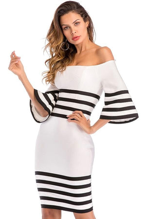 Off Shoulder Bandage Striped Bodycon Dress