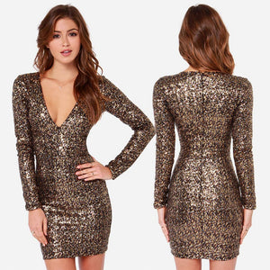 Sequins V-neck Gold Glitter Bodycon Mini Party Dress Verkadi.com