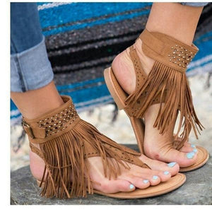 Sexy Tassel Fashion Gladiator Roman Style Flat Sandals
