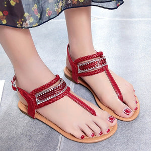 Summer Pinch Bohemian Gladiator Diamond Thong Flat Sandals