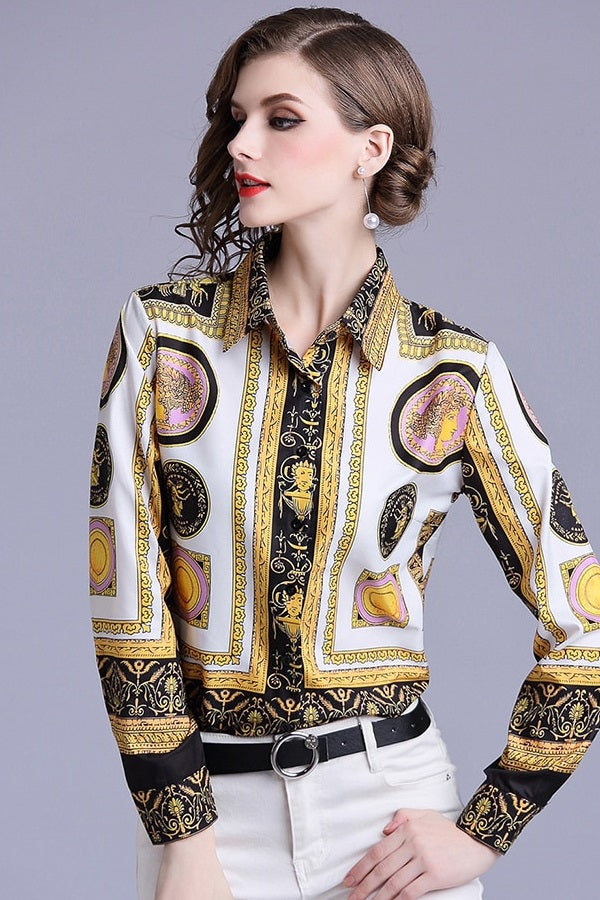 Long Sleeve Turn Down Collar Printed Chiffon Blouse Shirt Top