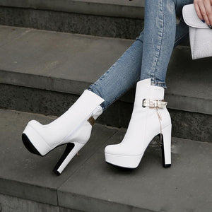 Smart Ankle High Heel Platform Pointed Toe Shoes Verkadi.com