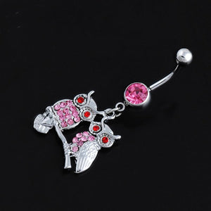 Romantic Owl Family Pink Belly Button Ring