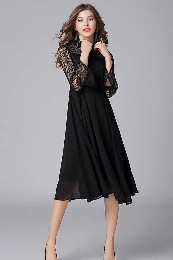Chiffon Lace A-line Butterfly Sleeve Plus Size Midi Dress