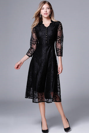 A-line Lace O-Neck Flare Sleeves Casual Mini Dress